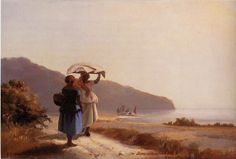 La Marchande de Marrons, Fiore de la St. Martin, Pontoise, 1881 by Camille Pissarro. Impressionism. landscape. Private Collection