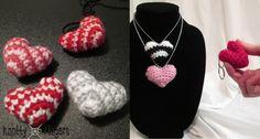 FREE Crochet Pattern - Striped Heart Amigurumi Necklace Charm