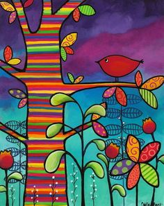 Carla Bank paintings are full of joy. This one is Rainbow Forest