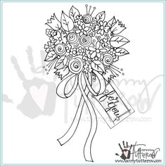 SBS-082 Flower Bouquet by Tammy Tutterow for Spellbinders Hand Embroidery Flowers, Paper Embroidery, Embroidery Patterns, Floral Doodle, Doodle Lettering, Sewing Stitches, Types Of Craft, Arts And Crafts Supplies, Digital Stamps