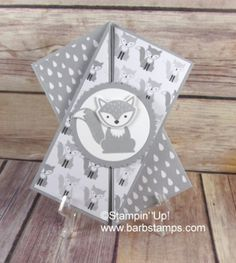 Stampin' Up diagonal gate fold card using the Foxy Friends Stamp set and the Fox Builder punch. Card Making Tutorials, Card Making Techniques, Fancy Fold Cards, Folded Cards, Baby Cards, Kids Cards, Tarjetas Pop Up, Up Book, Shaped Cards