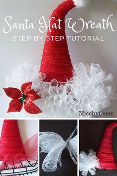 Santa Hat Wreath Step by Step Tutorial