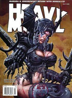 Heavy Metal July 2009 Cover by Simon Bisley Arte Heavy Metal, Heavy Metal Movie, Metal Magazine, Magazine Art, Magazine Covers, Texture Metal, Pinup, Cyberpunk, Simon Bisley