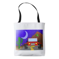 Fabric tote bag printed with the drawing of a jeep car on a night landscape, with the moon, a cactus and starry sky.