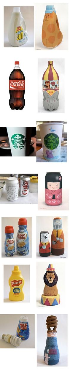 Every day bottles and containers upcycled into works of art.