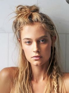 20 inspiring half-up top knot hairstyles // messy bun with side braid #hair #septumring #beauty