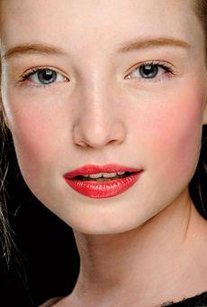 Wedding Makeup Ideas from Fall 2012 Fashion Week- Matching crimson cheeks and lips