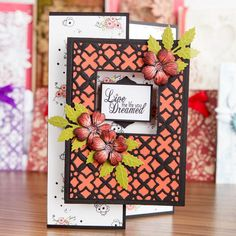 #Floral #greetingcard from the Die'sire A6 Create and Card Dies Mega Bundle. Available here - http://www.createandcraft.tv/Die%40esire_A6_Create_a_Card_Dies_Mega_Bundle-337928.aspx?fh_location=//CreateAndCraft/en_GB/$s=337928 #cardmaking #papercraft