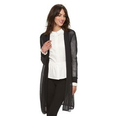 Women's Elle™ Ribbed Long Cardigan, Size: