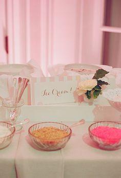 Ice cream bar dessert idea for a preppy, pink wedding reception (Photo: Kate Headley)