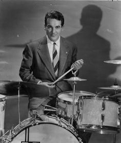 """If you love the drum solo on Benny Goodman's recording of """"Sing, Sing, Sing,"""" then you are a fan of Gene Krupa, the influential jazz/big band drummer, band leader and composer who was born on this date in 1909. He was 64 when he died in 1973. Did you ever see him in person? Photo courtesy of AP. https://www.facebook.com/ClassicHollywoodLAT/photos/a.325229037557486.74836.315575098522880/1575812445832466/?type=3&theater"""