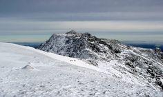 Wales, scenic vista of winter at Snowdonia. Glyderau
