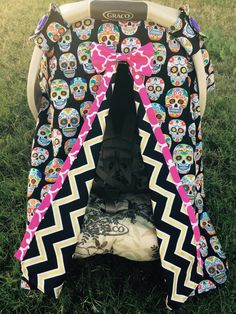 Sugar Skull Carseat Canopy Cover Tent Shade By LilacsAndLeopards Cool Baby Clothes