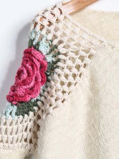 Jersey suelto cuello redondo Floral Crochet-crudo-Spanish SheIn(Sheinside)
