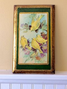 Vintage Florentine Yellow Birds Wood Plaque by YellowHouseDecor