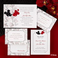 Friends and family will appreciate this light-hearted shimmer wedding invitation card featuring a Mickey and Minnie Mouse silhouette design in red, black and silver. #Disney #weddings #invitations #pinparty