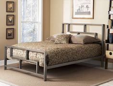 Update any bedroom with this elegant full-sized bed from the Bronx collection. The powder-coated steel-framed bed features a stylish geometric pattern and deck that you can adjust to accommodate a mattress alone or incorporate a box-spring.