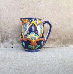 Mexican Talavera Water Pitcher Ceramic Handmade Vase Hand Painted Pottery #Handmade