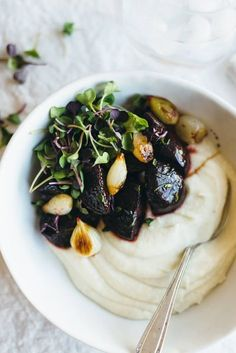 Celery root puree with balsamic roasted beets and pearl onions