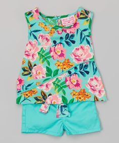 Look at this #zulilyfind! Girls Luv Pink Aqua Floral Pom-Pom Top & Belted Shorts - Infant by Girls Luv Pink #zulilyfinds