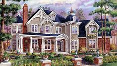 Outdoor living is enhanced in this huge Victorian home plan with a wrap-around porch, large deck and beautiful sunroom in the rear. Victorian House Plans, Victorian Design, Victorian Homes, Victorian Life, Victorian Gothic, The Sims, Sims 4, Luxury House Plans, Dream House Plans