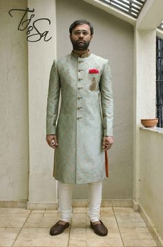 Check out images of the best Designer Groom Wear. Mens Indian Wear, Mens Ethnic Wear, Indian Groom Wear, Indian Men Fashion, Blue Sherwani, Achkan, Ethenic Wear, Wedding Sherwani, Nehru Jackets