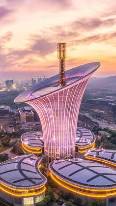 Unusual Buildings, Interesting Buildings, Amazing Buildings, Modern Buildings, Post Modern Architecture, Futuristic Architecture, Amazing Architecture, Architecture Design, Wuhan