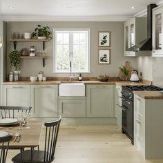 Sage Green Kitchen, Green Kitchen Cabinets, Kitchen Cabinet Colors, Green Country Kitchen, Wooden Worktop Kitchen, Kitchen Cabinets Designs, Green Kitchen Paint, Wooden Kitchen Floor, Natural Wood Kitchen Cabinets