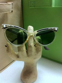 Incredible Hard to Find Authentic Vintage Celluliod Bakelite Cats Eye Sun Glasses True MOD Fashion Accessory. $20.00, via Etsy.