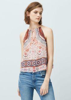 Top cuello halter - Camisas de Mujer | MANGO España