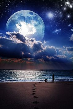 Moon Night *** by tomophotography. Amazing and Artistic Photography of the moon in the bue sky at the beach. Sea