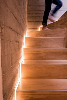 Stairway Lighting Concepts For Fashionable And Modern Interiors Painted Staircases, Painted Stairs, Wooden Stairs, Stairway Lighting, Strip Lighting, Lights On Stairs, Staircase Lighting Ideas, Accent Lighting, Ceiling Lighting