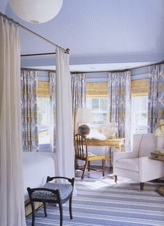 blue & yellow bedroom colors striped blue white rug, blue yellow polka dot bench with . Blue Yellow Bedrooms, Blue Rooms, White Rooms, White Bedroom, Blue Walls, Blue And White Rug, Gray Yellow, Yellow Shades, Black Lamps