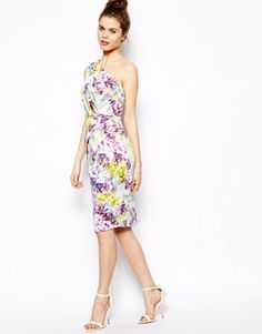 ASOS Floral Folded One Shoulder Dress $52.00 - A much improved version of the black one shouldered dress! This one is lined, will fit better because of the pleats in the bodice and skirt and at this price its worth the purchase. Don't buy the label, buy the look. No one is going to ask to see the label!