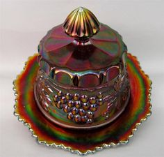 GRAPE & CABLE by NORTHWOOD ~ AMETHYST CARNIVAL GLASS BUTTER DISH & LID