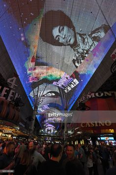 The Fremont Street Experience pays tribute to recording artist Prince with a photo retrospective on the attraction's Viva Vision screen while playing his music early on April 22, 2016 in Las Vegas, Nevada. Prince died on Thursday at his Paisley Park Studios in Minnesota at the age of 57.