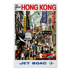 Mixed Media - The Orient Is Hong Kong - British Overseas Airways Corporation - Jet Boac - Retro Travel Poster by Studio Grafiikka , Retro Poster, A4 Poster, Vintage Travel Posters, Poster Prints, Wall Prints, Retro Print, Art Print, Poster Wall, Retro Airline