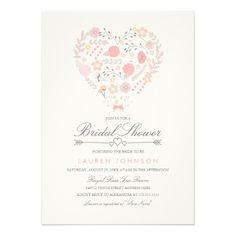 Pretty Floral Heart Bridal Shower Invitation