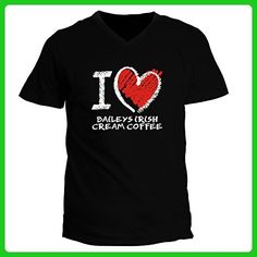 Idakoos - I love Baileys Irish Cream Coffee chalk style - Drinks - V-Neck T-Shirt - Food and drink shirts (*Amazon Partner-Link)