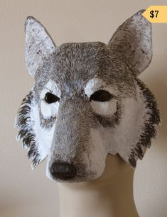 This four-pattern set helps you create realistic paper mache animal masks. Included are a beautiful lion, a wolf, a cat, and a cow. Making Paper Mache, Paper Mache Mask, Paper Mache Sculpture, Wolf Sculpture, Elephant Sculpture, Animal Sculptures, Paper Mache Projects, Paper Mache Crafts, Fun Projects