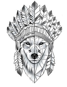 - magazine wolf tattoos, new tattoos, body art tattoos, animal ta Wolf Tattoo Design, Indian Tattoo Design, Wolf Tattoos, Animal Tattoos, Kunst Tattoos, Body Art Tattoos, Sleeve Tattoos, Tattoos Skull, Art Drawings Sketches