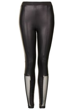 Mesh Panel Wetlook Leggings