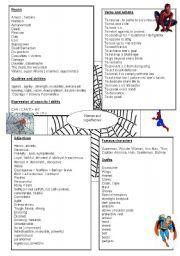 English worksheet: word bank superheroes