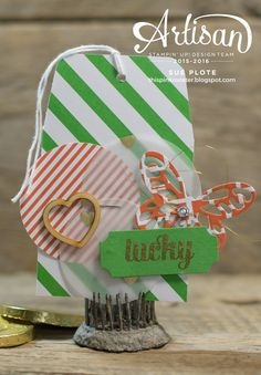 this pink rooster: Lucky  Another fun tag using Project Life by Stampin' Up!.