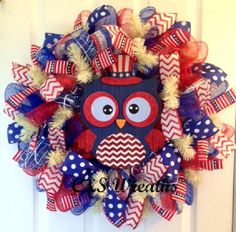 Large red, white, and blue patriotic, owl, deco mesh wreath