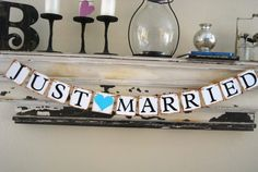 JUST MARRIED Wedding Banner Sign Garland Bunting by GreenJazzFace, $20.00