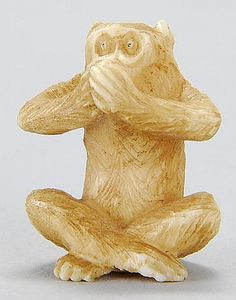 "Lot 97: IVORY OJIME In the form of a monkey expressing ""...speak no evil"". Height 19mm. - Eldred's 
