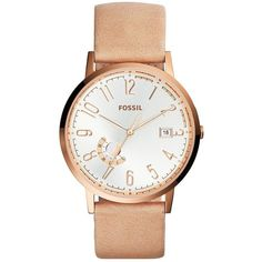 Fossil Polished Rose Goldtone Stainless Steel and Leather Watch (5,640 DOP) ❤ liked on Polyvore featuring jewelry, watches, cream, vintage wrist watch, water resistant watches, stainless steel watches, leather wrist watch and womens jewellery