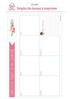 Emploi-du-temps-ruban-a-imprimer. Family Planner, Budget Planner, Weekly Planner, Back To School 2017, Journal Organization, Birthday Calendar, Planners, Bullet Journal Spread, Study Inspiration