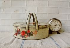 Vintage Sewing Tin with Handles  Floral Flowers